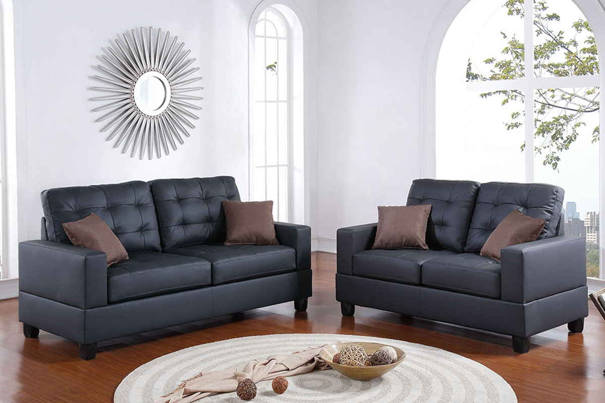 Poundex 2 Pcs Sofa Set Black F7855