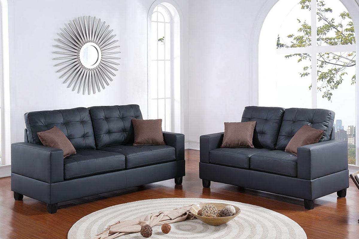 Poundex Timberland 2 Pcs Sofa Set Black F7855