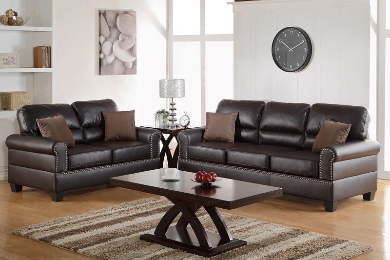 Poundex 2 Pcs Sofa Set Espresso Bonded Leather F7878