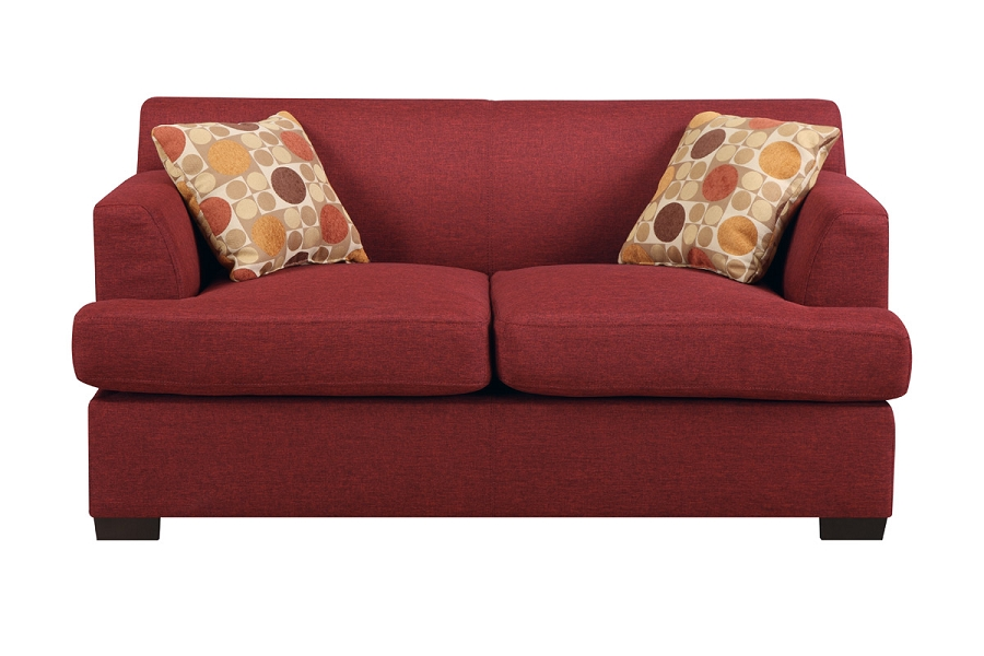LOVE SEAT DARK RED  LINEN.