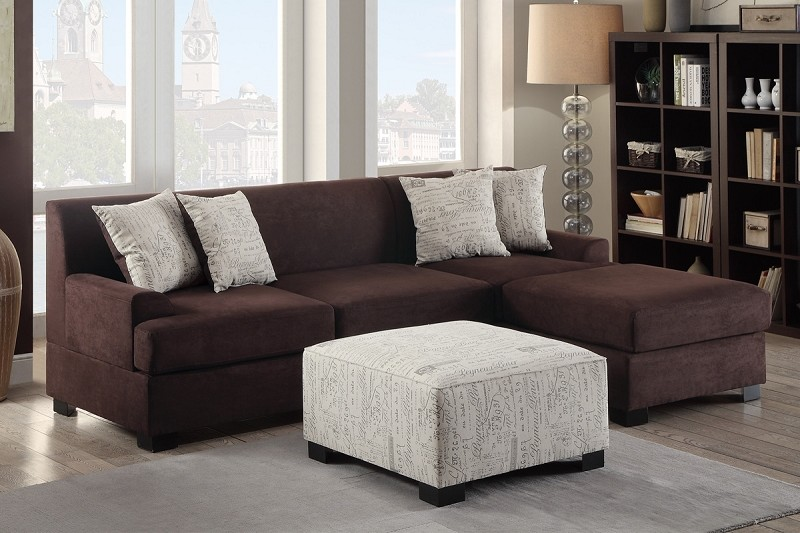 POUNDEX 2 PCS SECTIONAL CHOCOLATE MICRO SUEDE, F7980, F7979