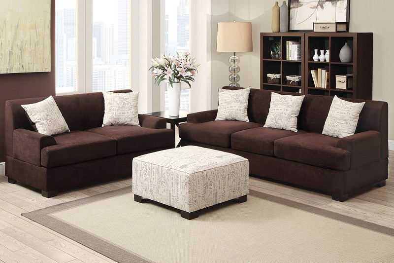 POUNDEX, 2 PCS SOFA SET CHOCOLATE MICROSUEDE, F7981, F7980