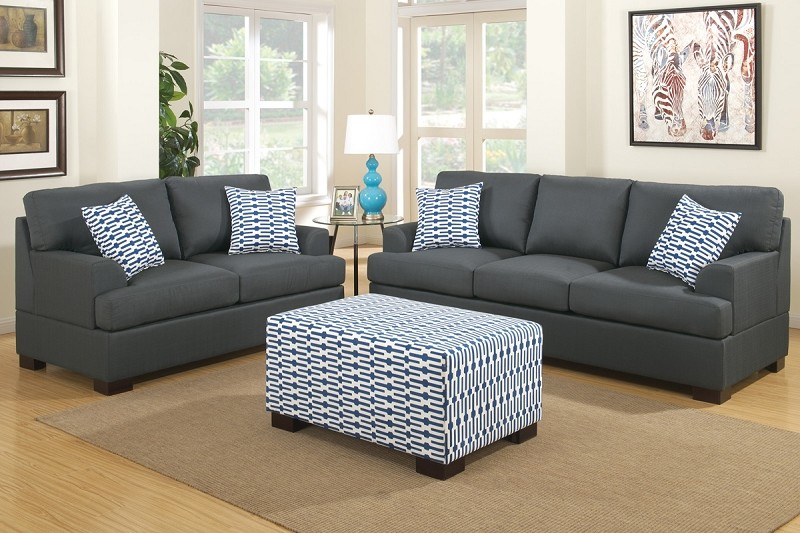 POUNDEX, 2 PCS SOFA SET SLATE BLACK (OTTOMAN SOLD SEPARATELY), F7992, F7991