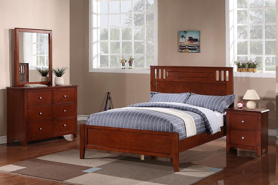 Poundex Twin Bed Solid Wood Walnut F9047t