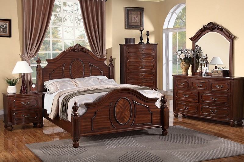 POUNDEX, BEDROOM SET QUEEN SIZE BED+DRESSER+MIRROR+1NIGHT STAND, F9141