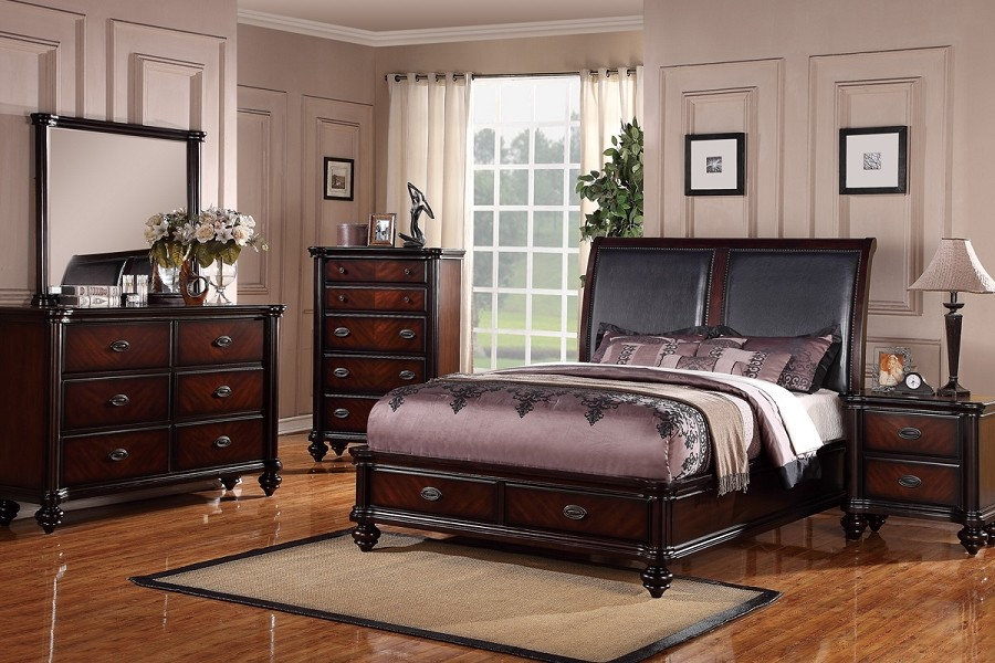 6PCS QUEEN BEDROOM SET, QUEEN BED+1NS+DRESSER+MIRROR