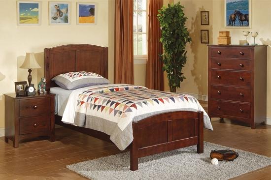 Poundex Twin Bed Dark Oak F9207