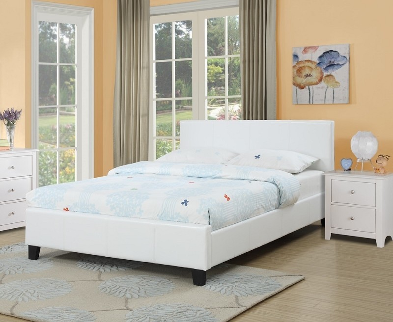 QUEEEN BED FAUX LEATHER WHITE