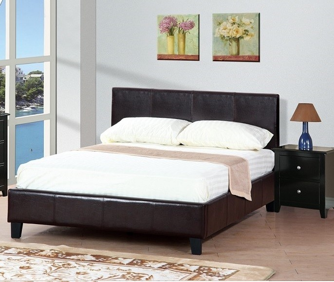 POUNDEX, QUEEN BED FAUX LEATHER ESPRESSO, F9211