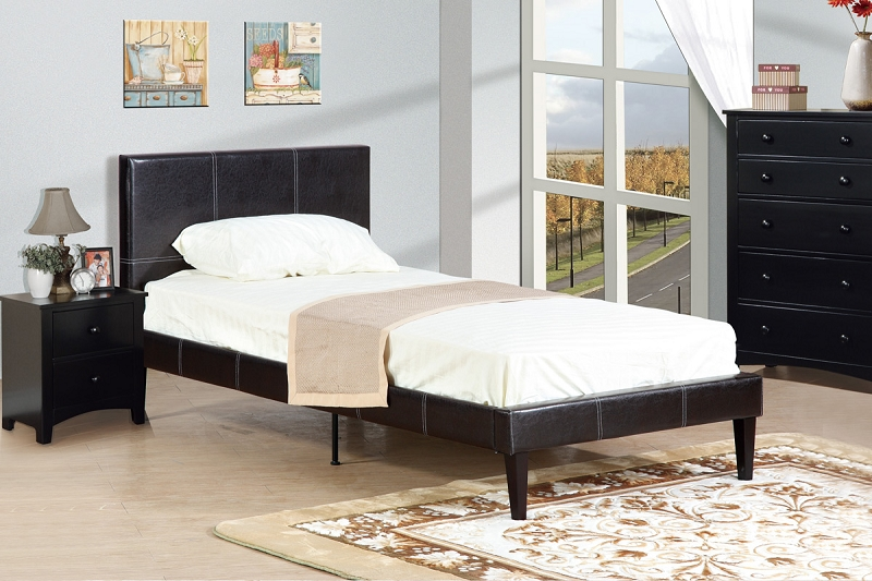 Poundex Twin Bed Faux Leather Espress F9212t