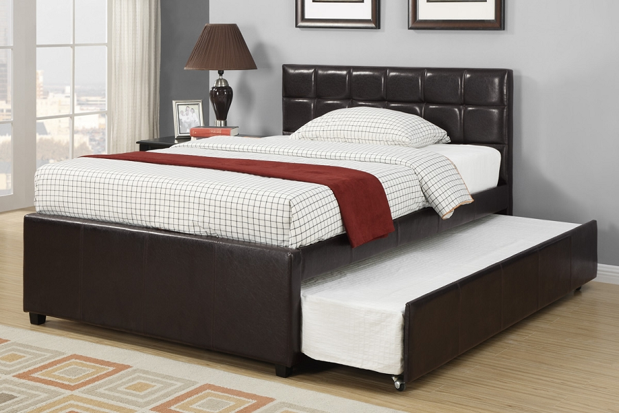 Poundex Twin Bed Trundle Faux Leather F9215t