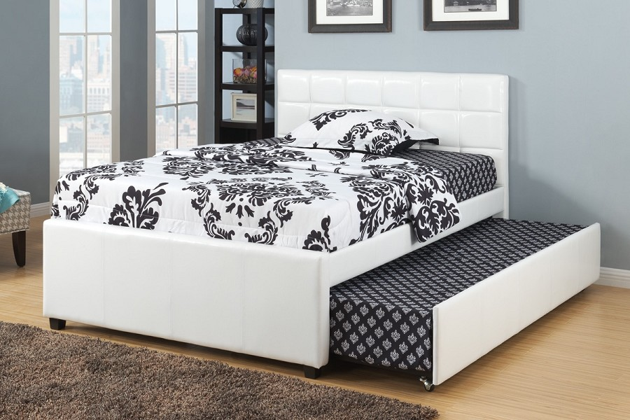 POUNDEX TWIN BED+TWIN TRUNDLE FAUX LEATHER, F9216T