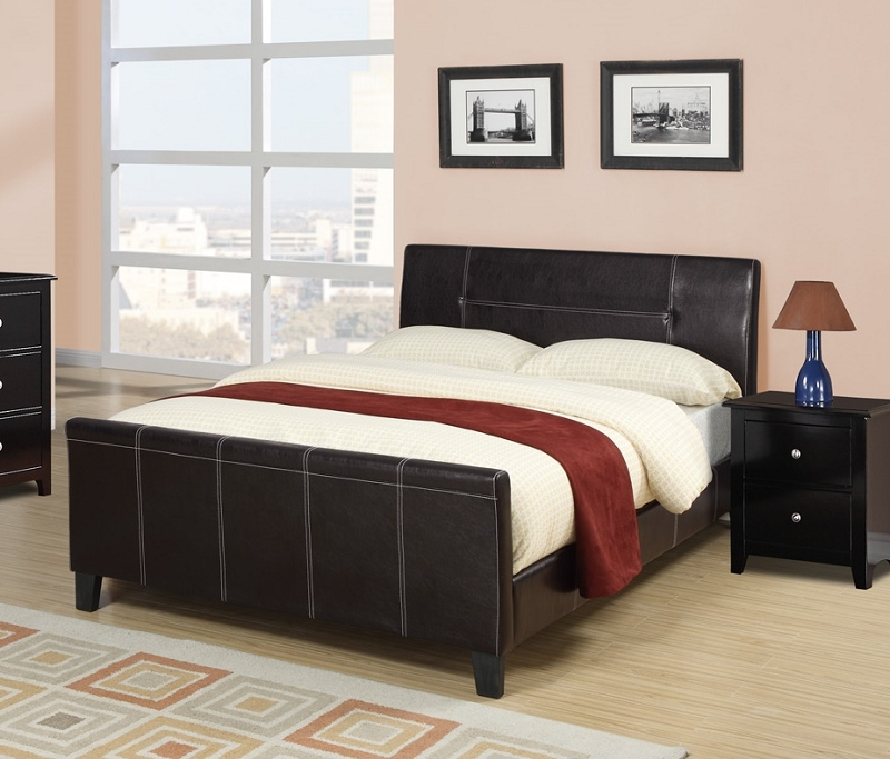 Poundex Queen Bed Faux Leather Espresso F9225