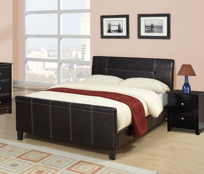 POUNDEX, QUEEN BED FAUX LEATHER  ESPRESSO, F9225