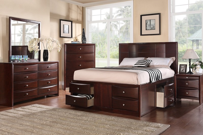6PCS BEDROOM SET , QUEEN BED +  DRESSER +  MIRROR + 1 NIGHT STAND