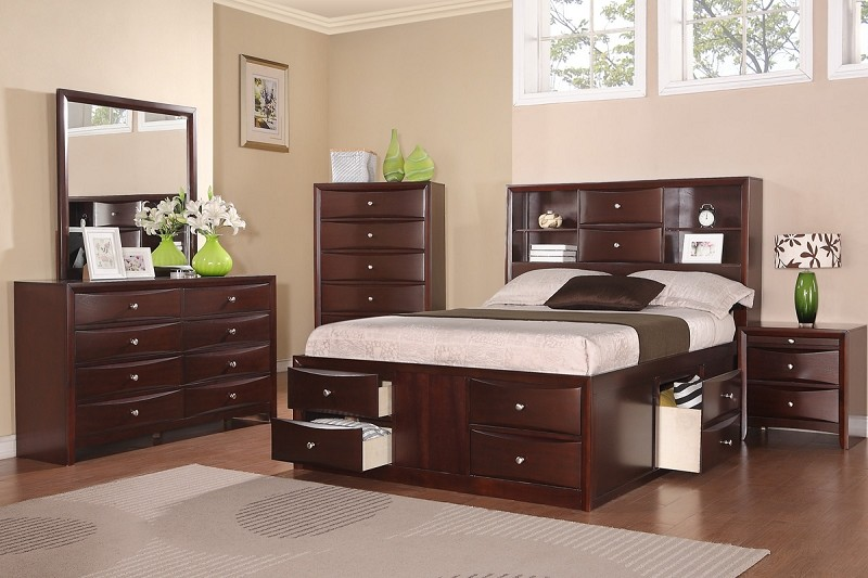 POUNDEX, 6PCS BEDROOM SET , QUEEN BED +  DRESSER +  MIRROR + 1 NIGHT STAND, F9234