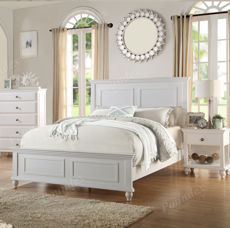 Poundex California King Bed White Finish F9270ck