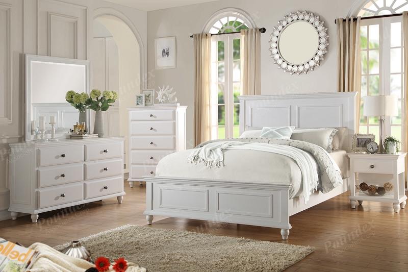 Poundex 6pcs Bedroom Set Queen Bed 1ns Dresser Mirror F9270