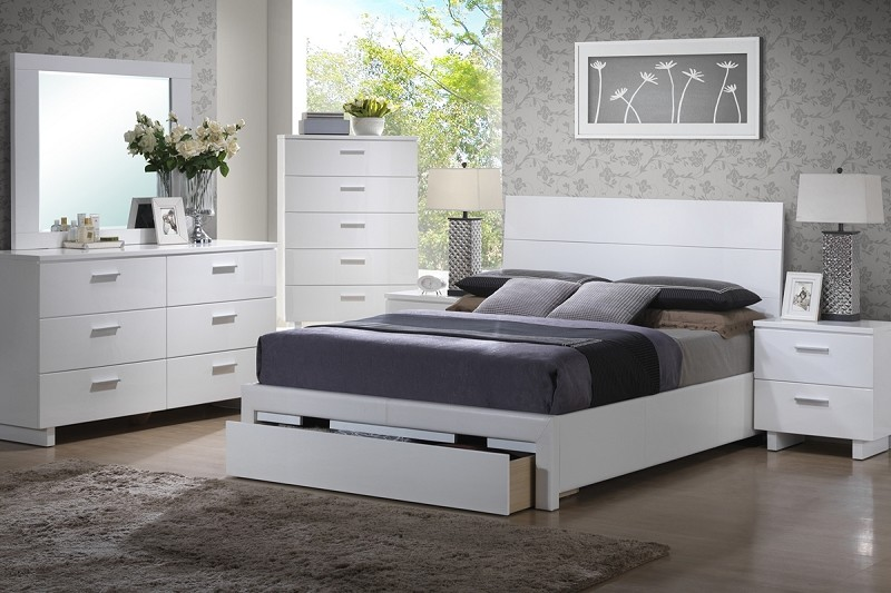 POUNDEX, 6 PCS BEDROOM SET, QUEEN BED+DRESSER+MIRROR+1 NIGHT STAND, F9284