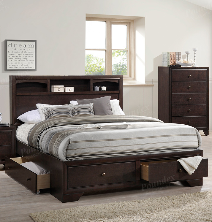 Poundex brand new queen size bed frame w 4 underbed drawers f9326q Queen bedroom sets with underbed storage