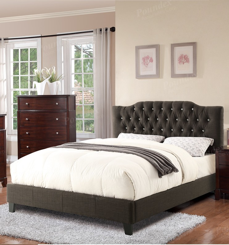 POUNDEX BRAND NEW ASH BLACK  FABRIC QUEEN SIZE BED, F9332Q