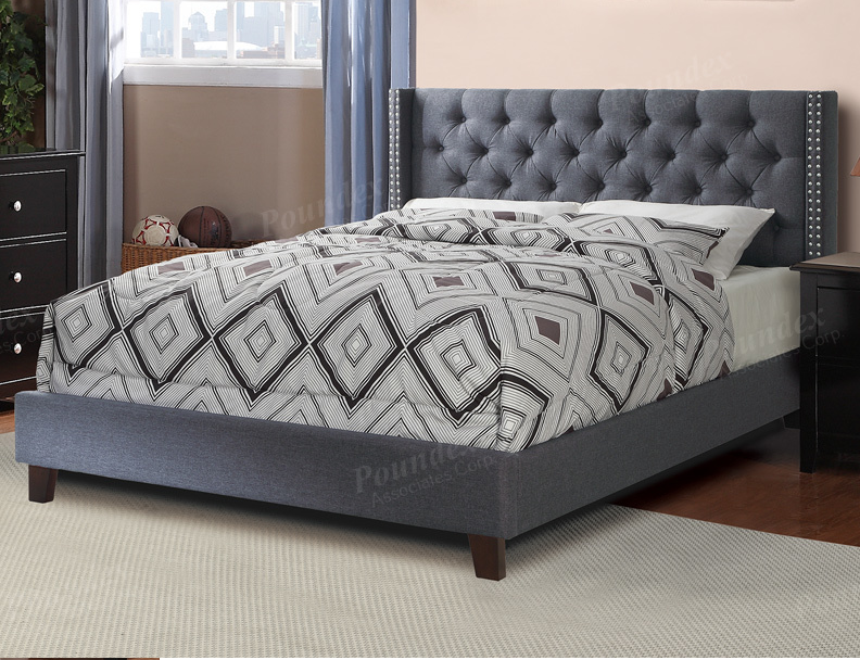 Poundex Queen Size Bed Frame Gray F9371