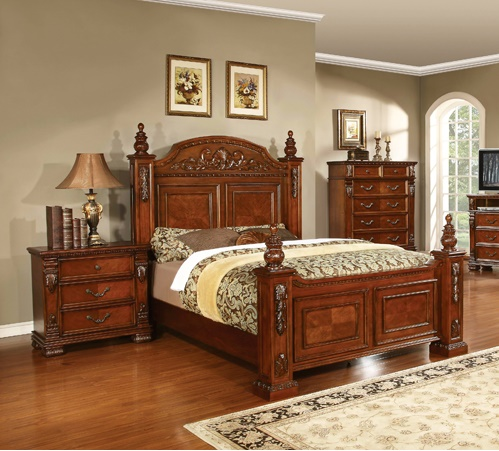 Eastern King Size Bed Cherry Finish