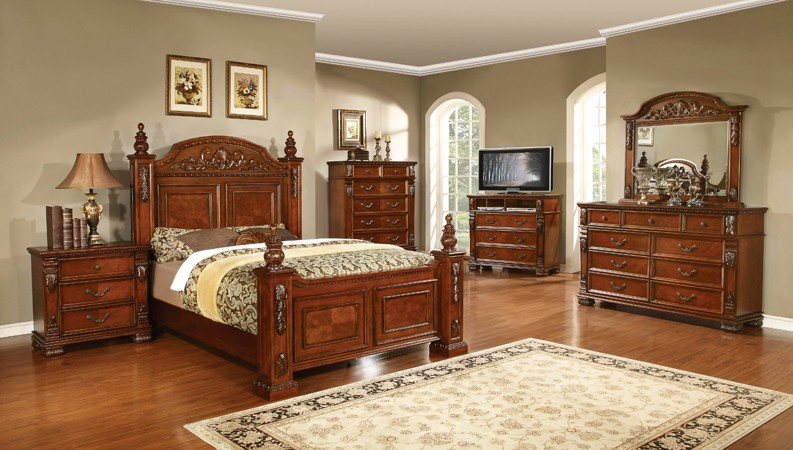 ASIA DIRECT, 6 PCS BEDROOM SET QUEEN SIZE BED, DRESSER, MIRROR, 1 NIGHT STAND  CHERRY FINISH, GRAND