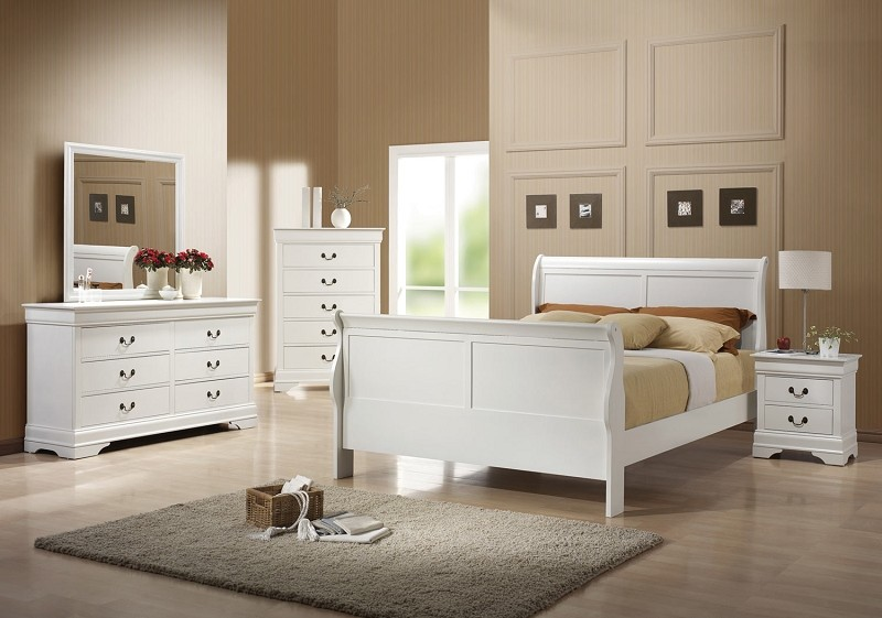 BEDROOM SET QUEEN BED FRAME +1NS+DRESSER+MIRROR