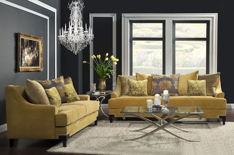 2 PCS SOFA SET GOLD
