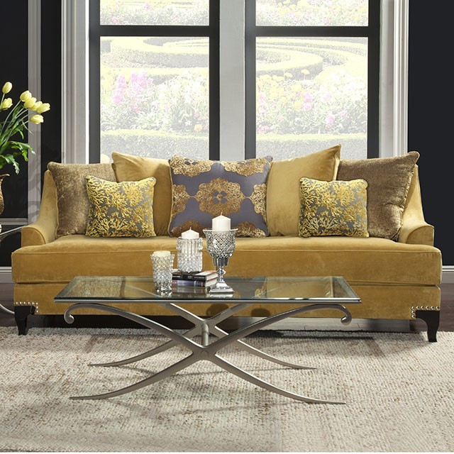 FURNITURE OF AMERICA, VISCONTII SOFA  GOLD, SM2201-SF