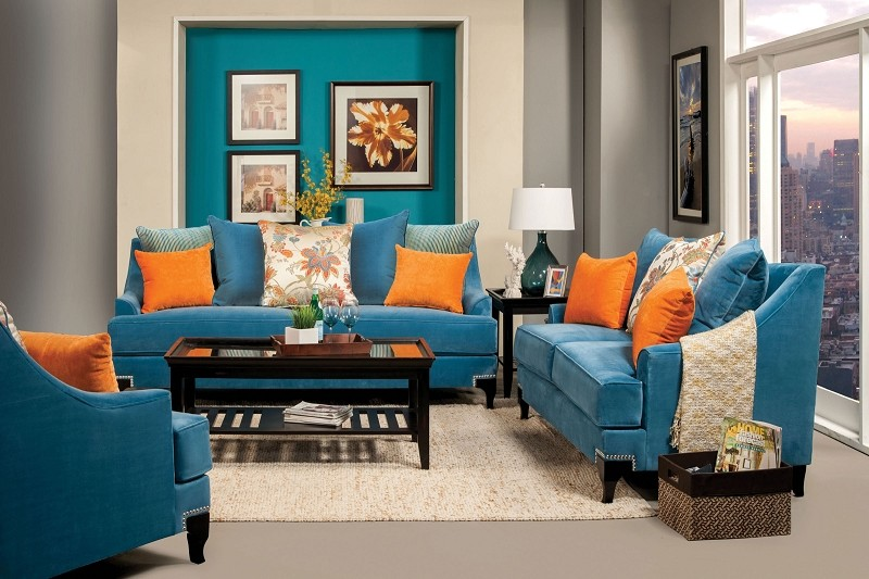 2 PCS SOFA SET  PEACOCK BLUE