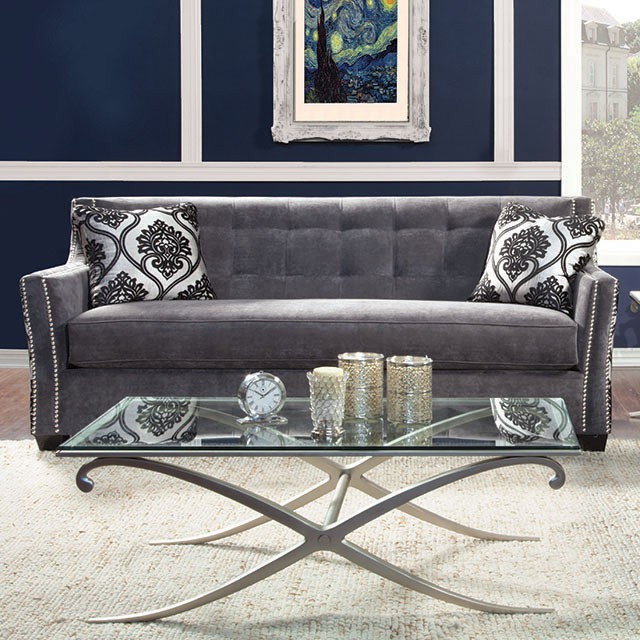 FURNITURE OF AMERICA, SOFA  CHARCOAL, SM2212-SF