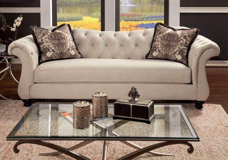 FURNITURE OF AMERICA, SOFA  BEIGE., SM2221-SF