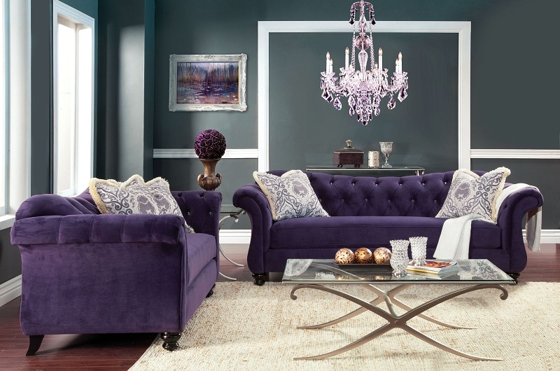 2 PCS SOFA SET PURPLE