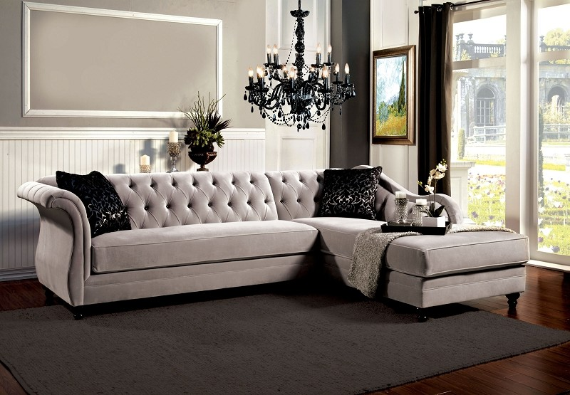 FURNITURE OF AMERICA ROTTERDAM SECTIONAL  WARN GRAY, SM2261