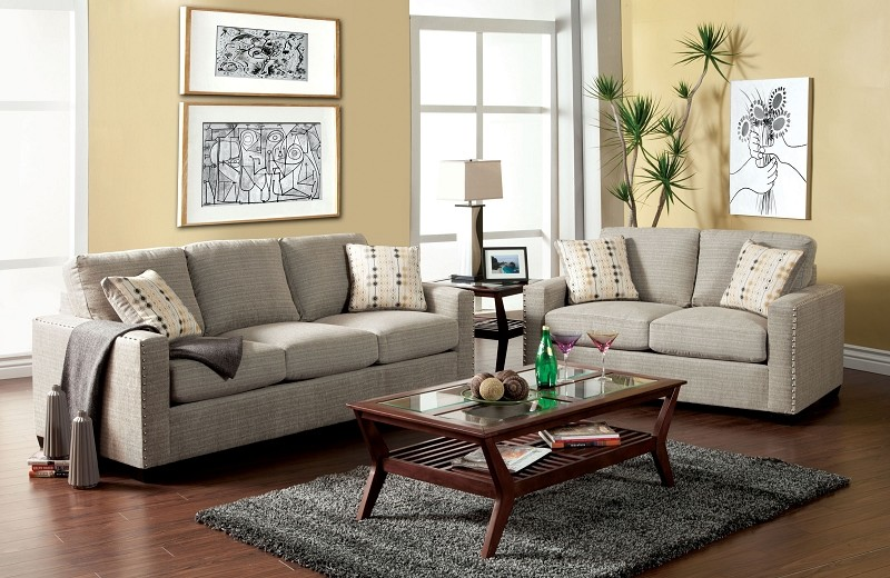 2 PCS SOFA SET PEWTER