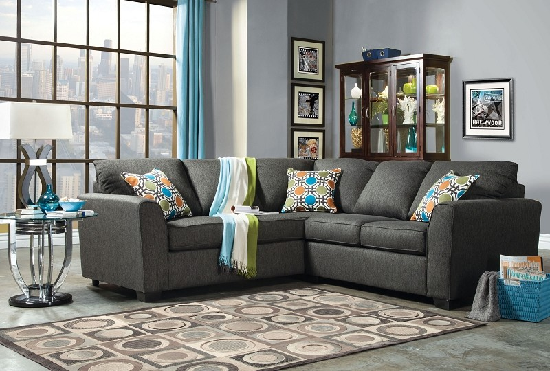 FURNITURE OF AMERICA PLAYA 2 PCS SECTIONAL CHARCOAL, SM3035
