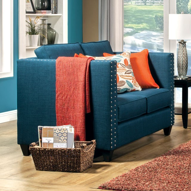 LOVE SEAT  TURQUOISE BLUE.