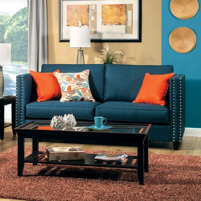 FURNITURE OF AMERICA, SOFA  TURQUOISE BLUE, SM4001-SF