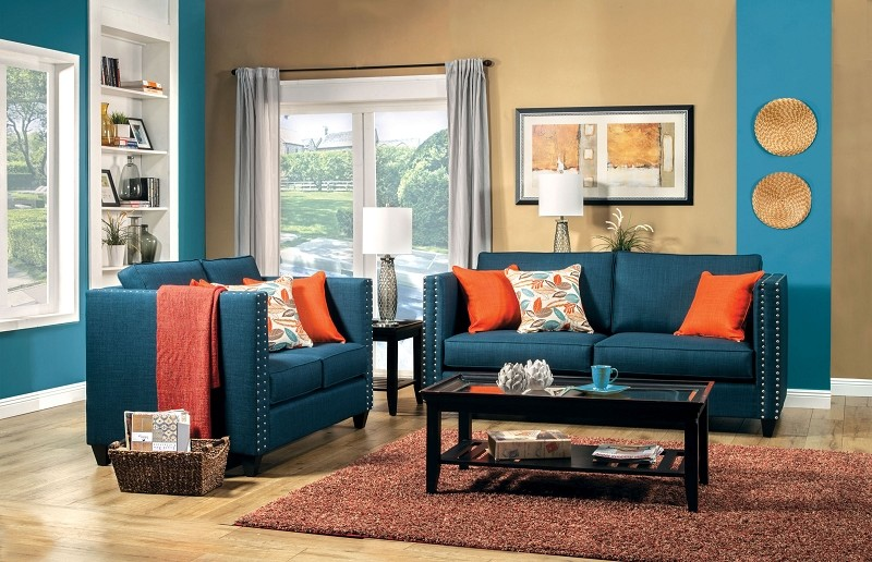 2 PCS SOFA SET TURQUOISE BLUE