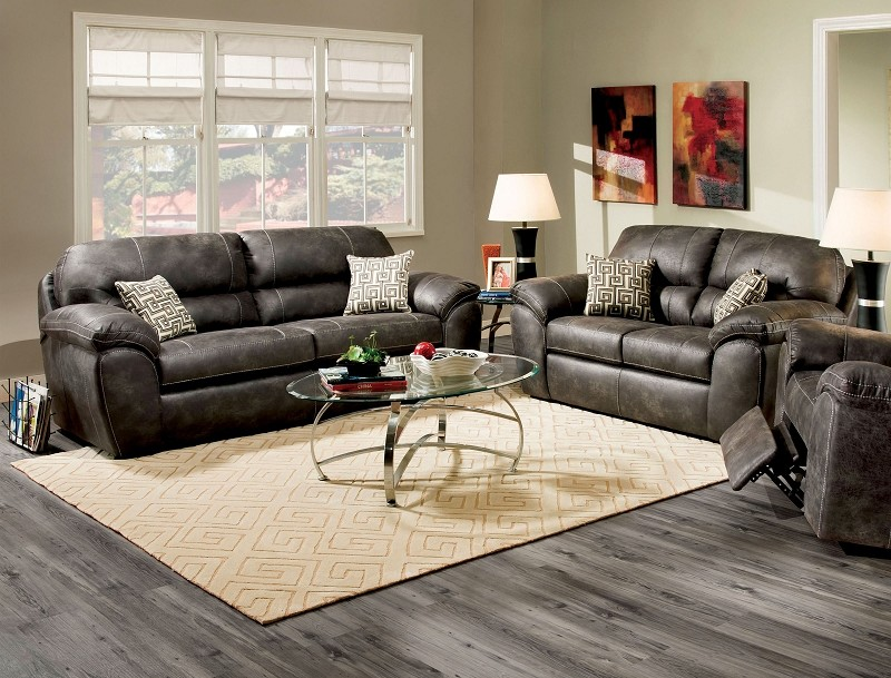 2 PCS SOFA SET CHARCOAL LEATHERETTE