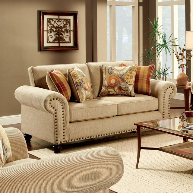 Rollins Chair: FURNITURE OF AMERICA, ROLLINS LOVE SEAT TAN, SM8110-LV