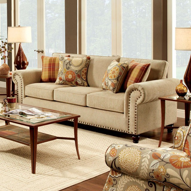 FURNITURE OF AMERICA, ROLLINS SOFA  TAN, SM8110-SF