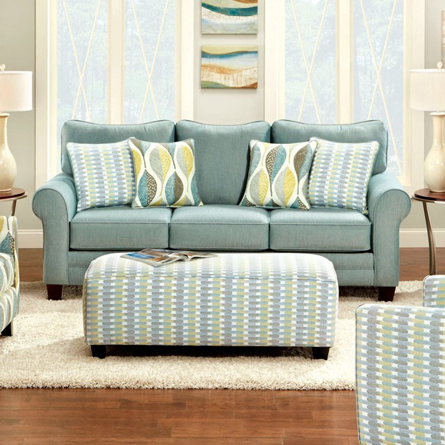 FURNITURE OF AMERICA, BRUBECK SOFA  SOFT TEAL, SM8140-SF