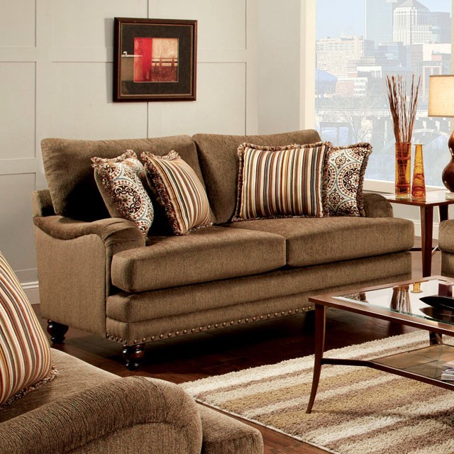 FURNITURE OF AMERICA, ADDERLEY LOVE SEAT BROWN, SM8460-LV