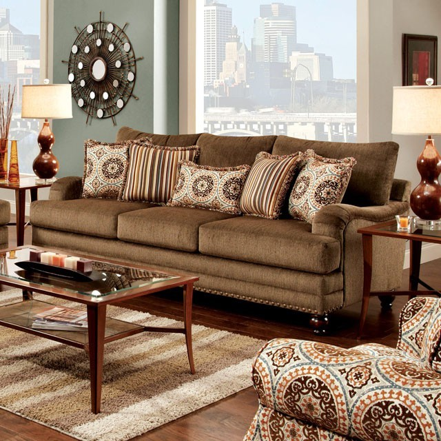 FURNITURE OF AMERICA, ADDERLEY SOFA BROWN, SM8460-SF