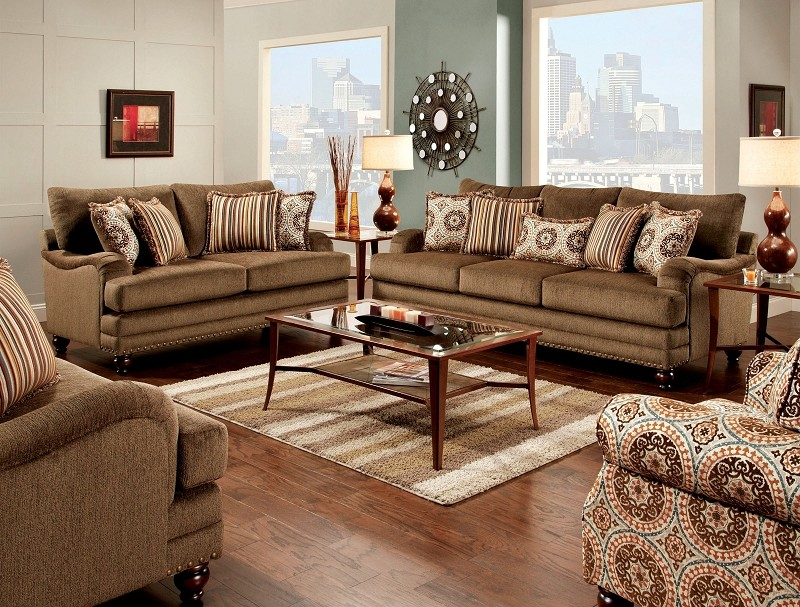 2 PCS SOFA SET BROWN