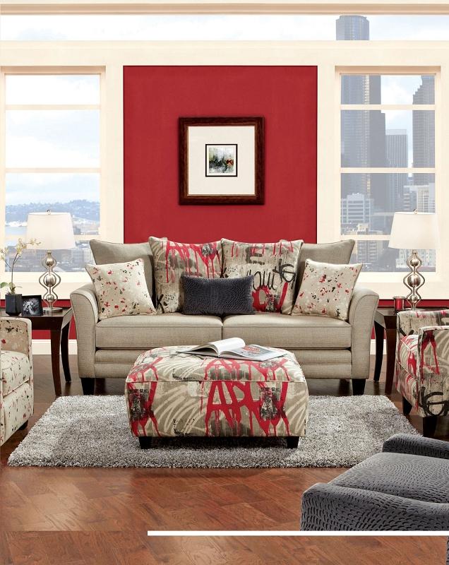 Furniture Of America Lennart Ii White Panel Bedroom Set: FURNITURE OF AMERICA, SOFA BEIGE, SM8560-S