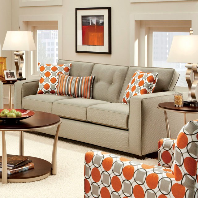 FURNITURE OF  AMERICA, SOFA   BEIGE, SM8561-SF